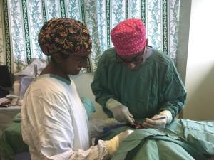 Dr Santhanam suturing