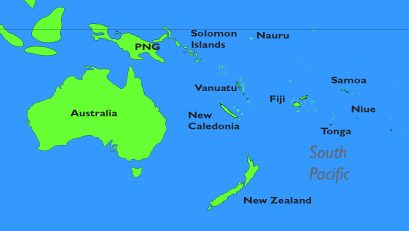 south pacific islands map
